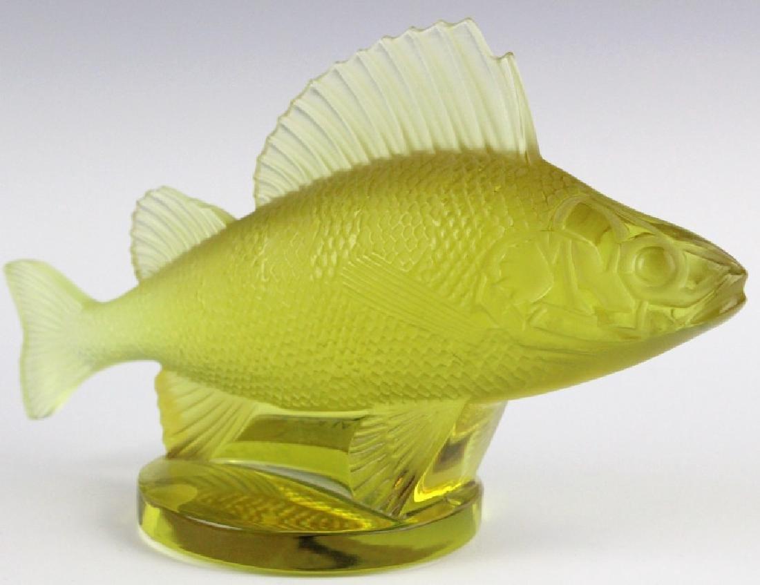 LALIQUE France Yellow Perche (Perch) Fish Figurine - 6
