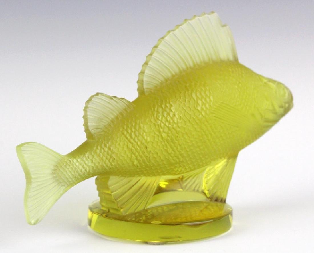 LALIQUE France Yellow Perche (Perch) Fish Figurine - 7