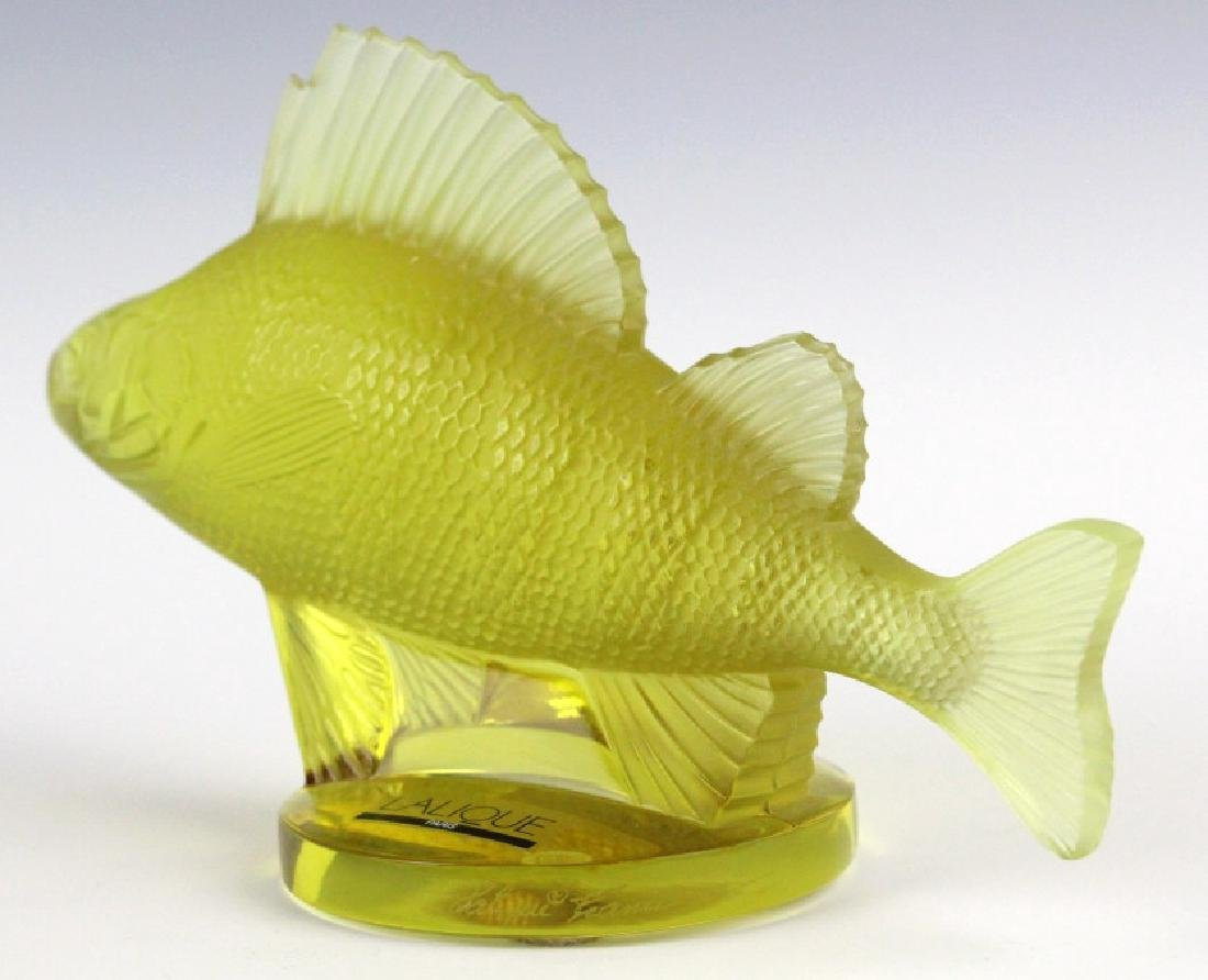 LALIQUE France Yellow Perche (Perch) Fish Figurine - 8