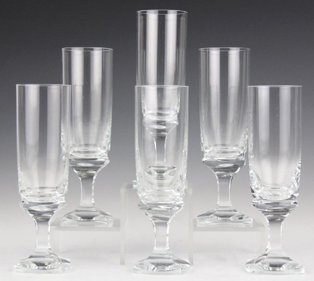 SET of 6 MOSER Bohemian Crystal Champagne Flutes