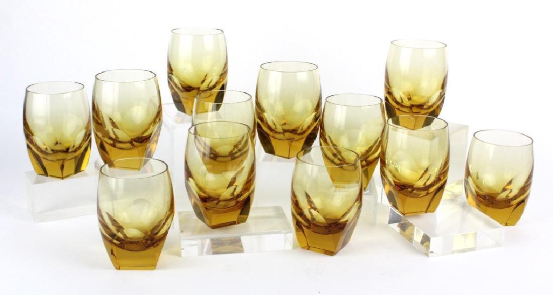 SET of 12 MOSER Bohemian Crystal Topaz Tumblers