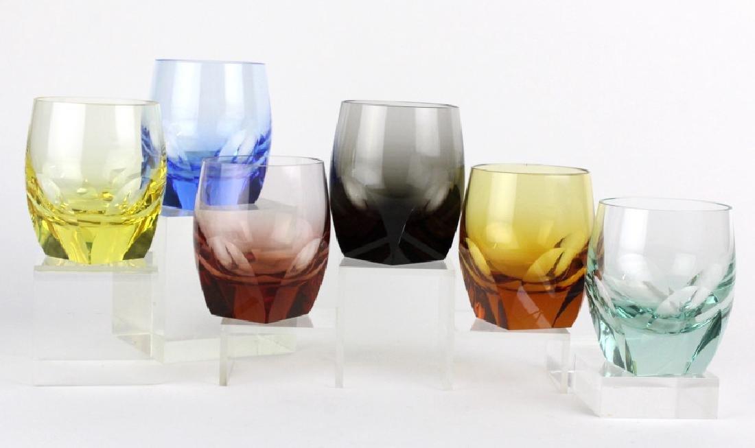 SET 6 MOSER Bohemian Crystal Multicolored Glasses