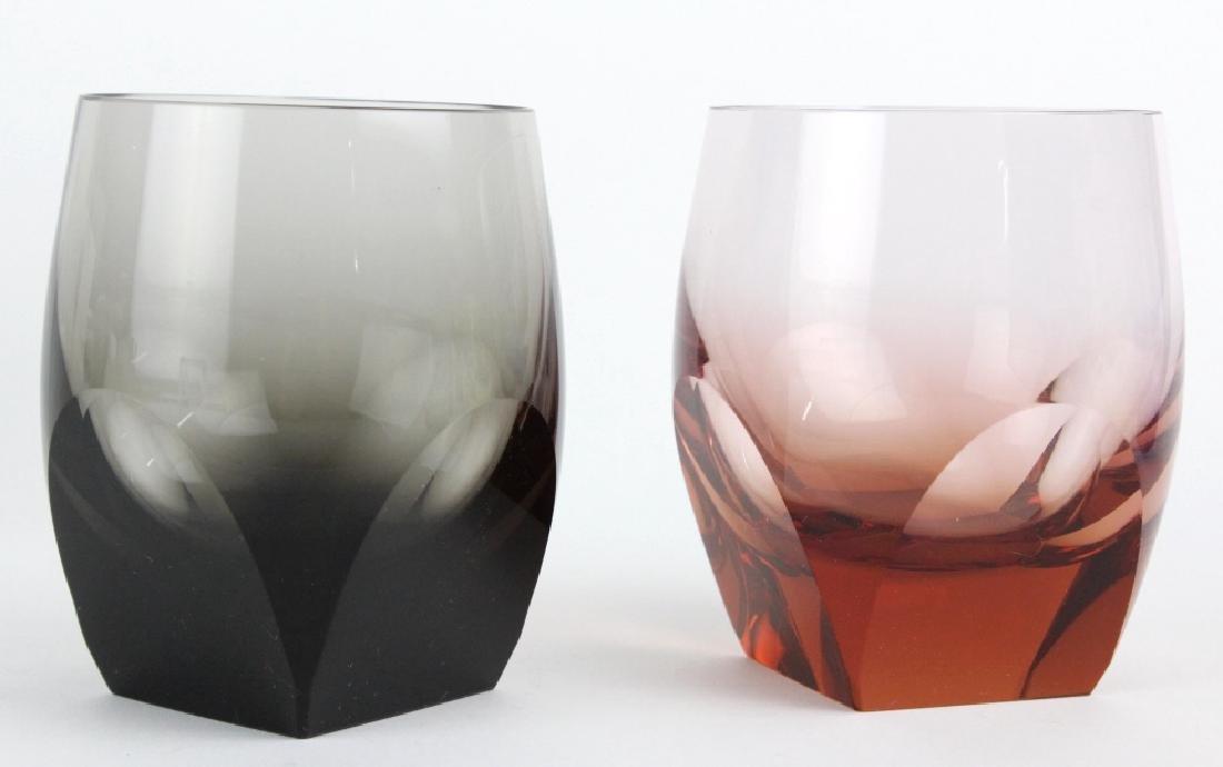 SET 6 MOSER Bohemian Crystal Multicolored Glasses - 4