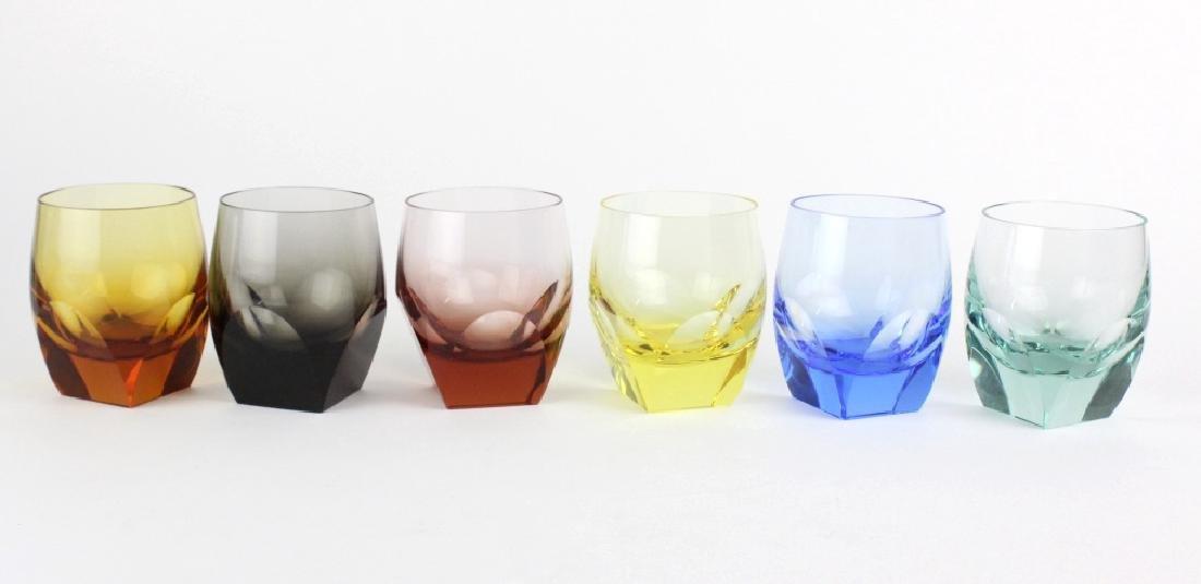 SET 6 MOSER Bohemian Crystal Multicolored Glasses - 5