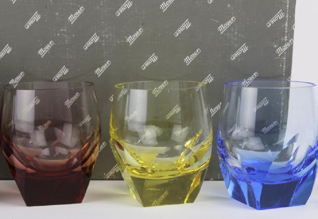 SET 6 MOSER Bohemian Crystal Multicolored Glasses - 6