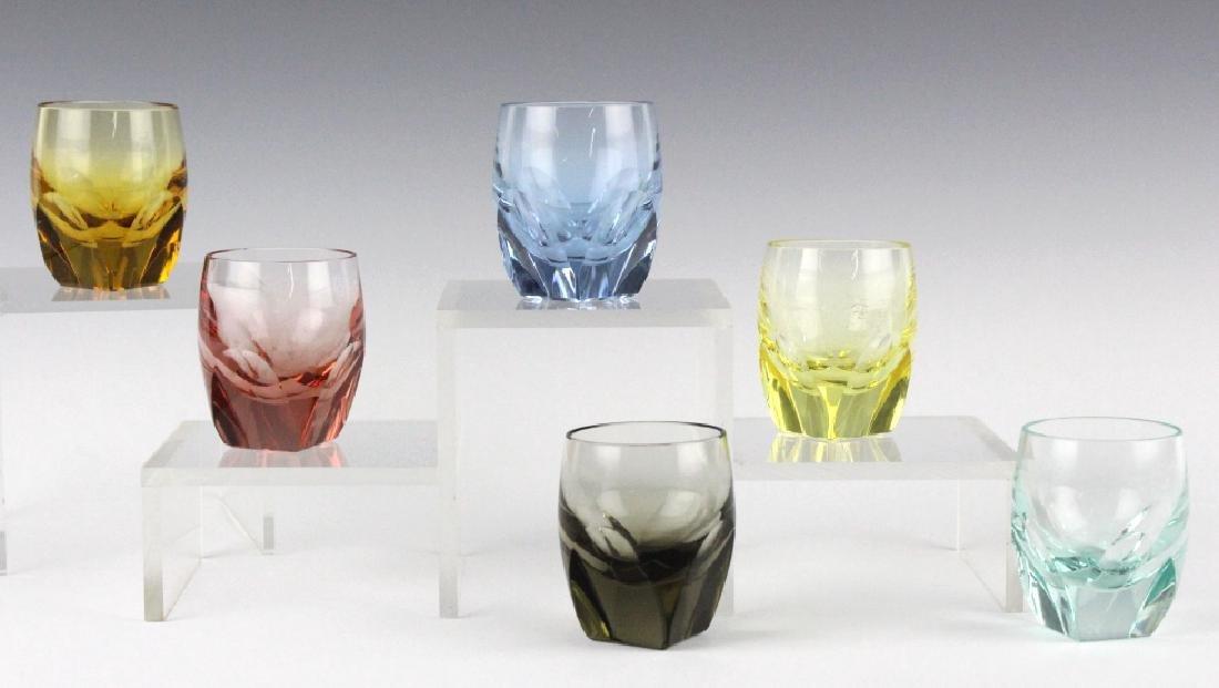 SET 6 MOSER Bohemian Crystal Colored Shot Glasses
