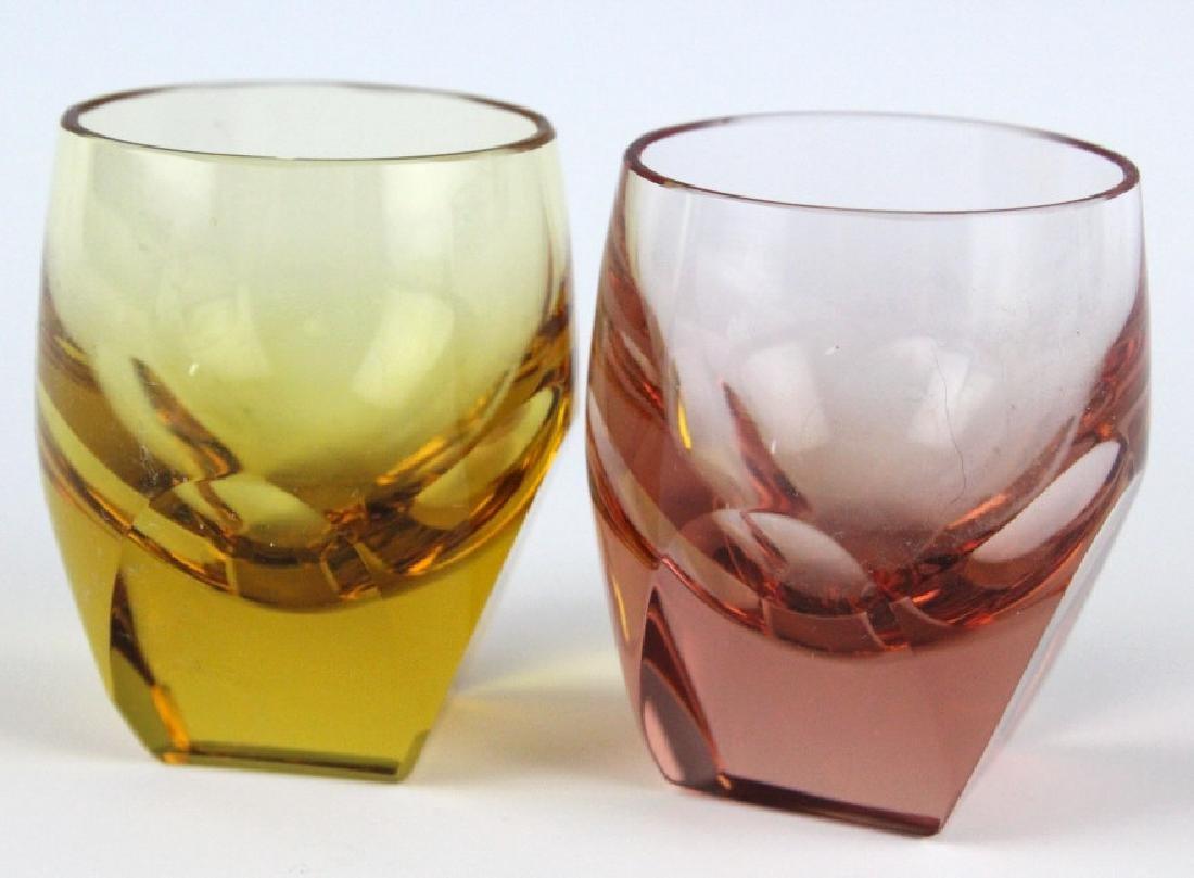 SET 6 MOSER Bohemian Crystal Colored Shot Glasses - 4