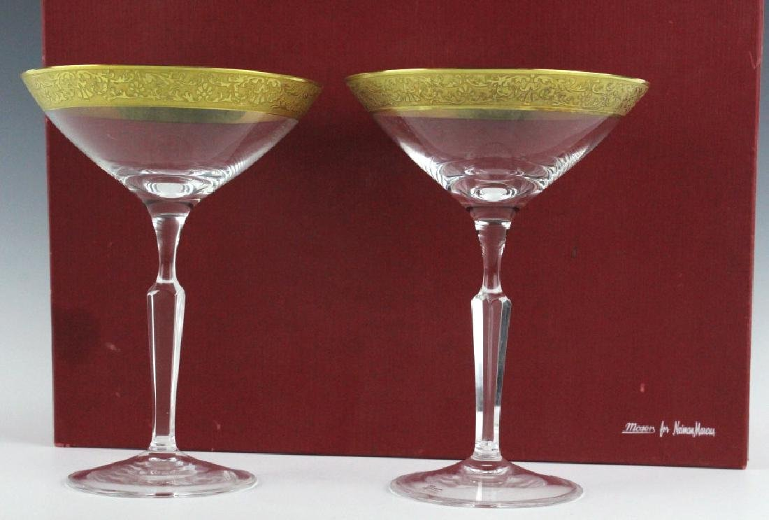2 MOSER Bohemian Crystal Gilt Etched Martini Glass