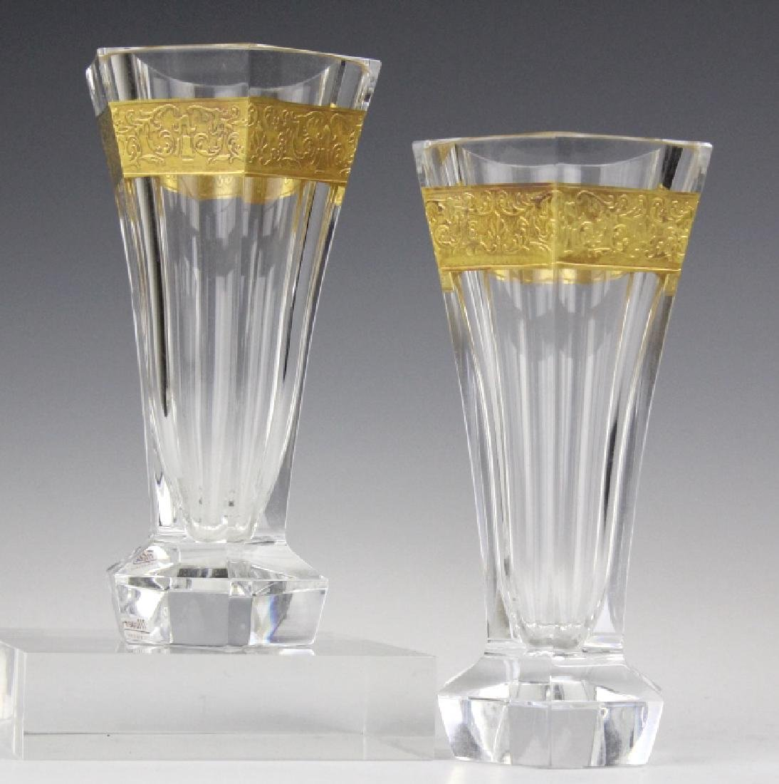 Pair MOSER Bohemian Crystal Gold & Etched Vases