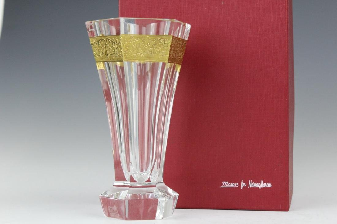 Pair MOSER Bohemian Crystal Gold & Etched Vases - 2