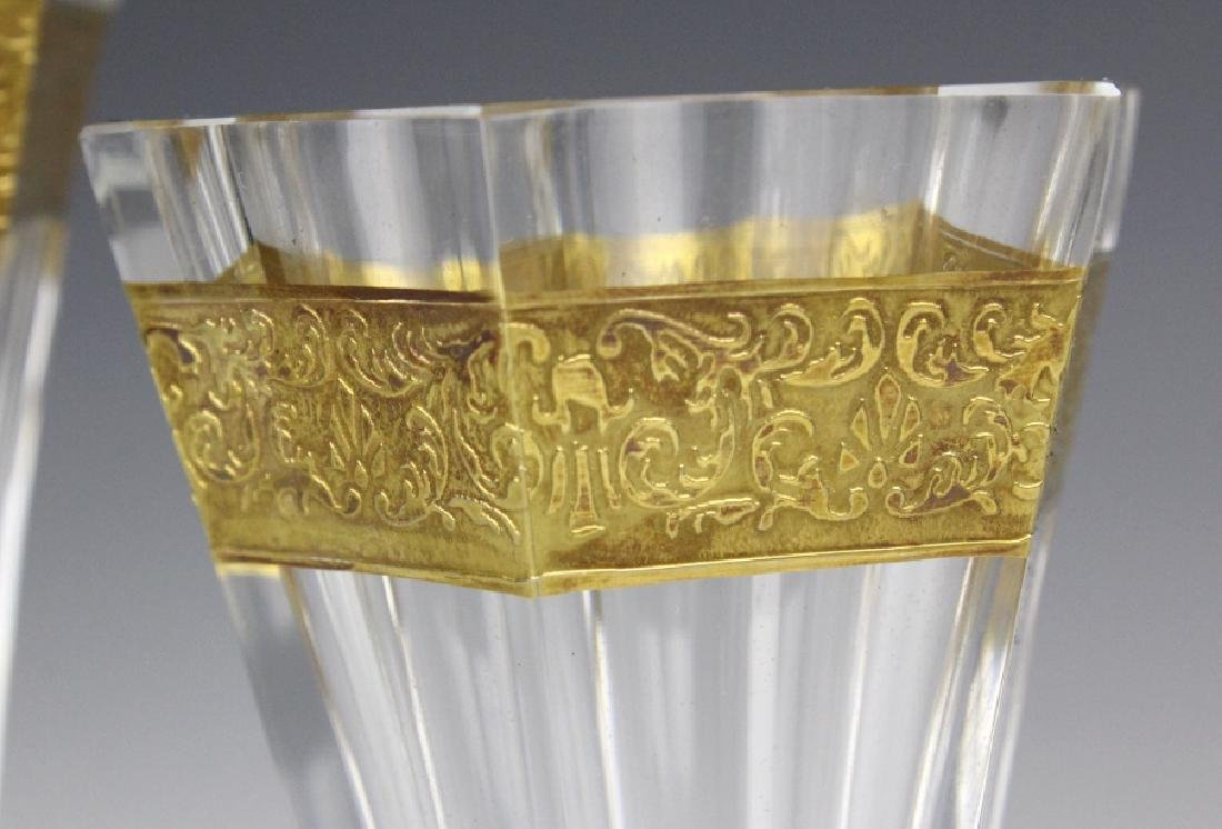 Pair MOSER Bohemian Crystal Gold & Etched Vases - 3