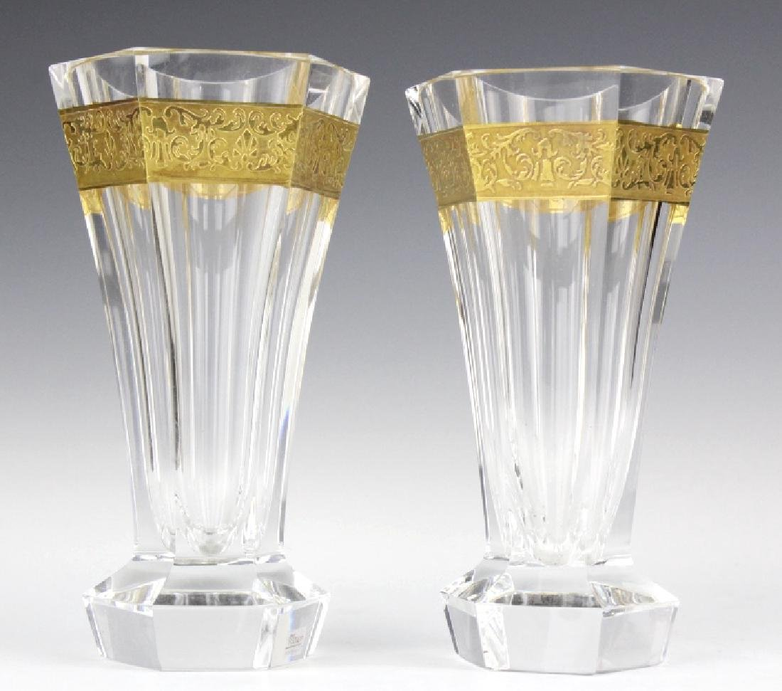 Pair MOSER Bohemian Crystal Gold & Etched Vases - 5