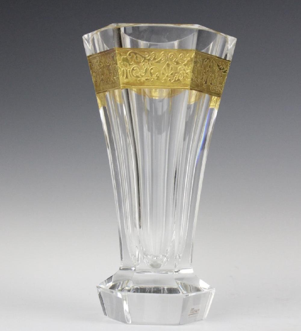 Pair MOSER Bohemian Crystal Gold & Etched Vases - 8