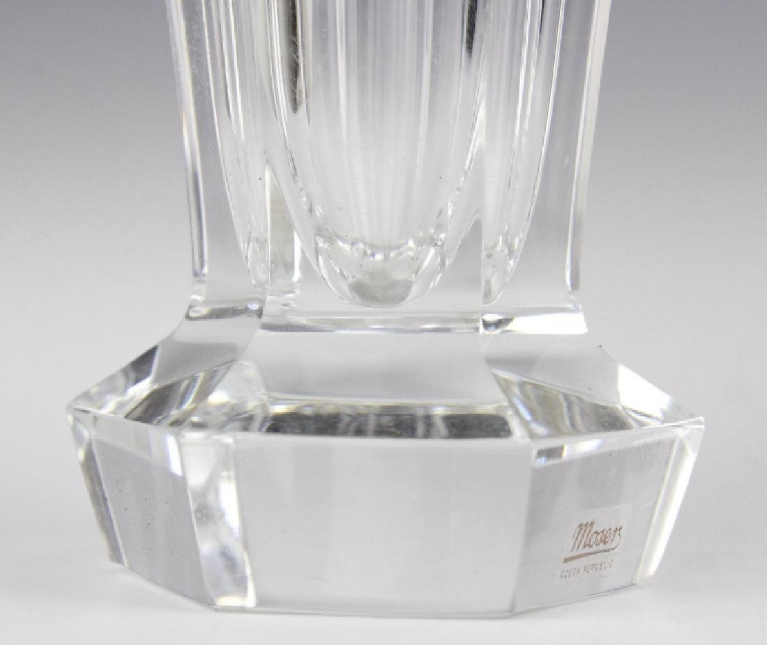 Pair MOSER Bohemian Crystal Gold & Etched Vases - 9
