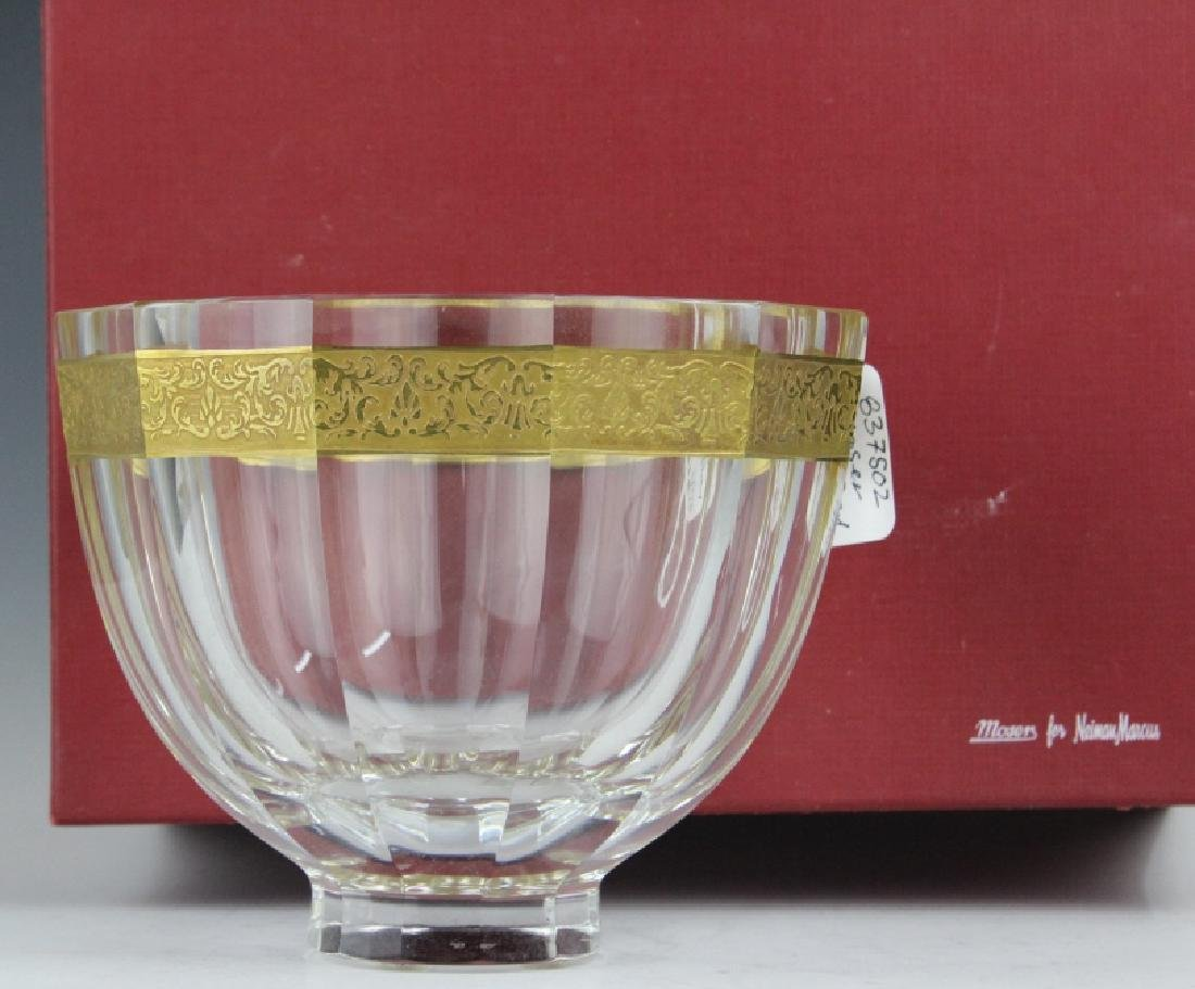 Signed MOSER Bohemian Crystal Gold & Etched Bowl