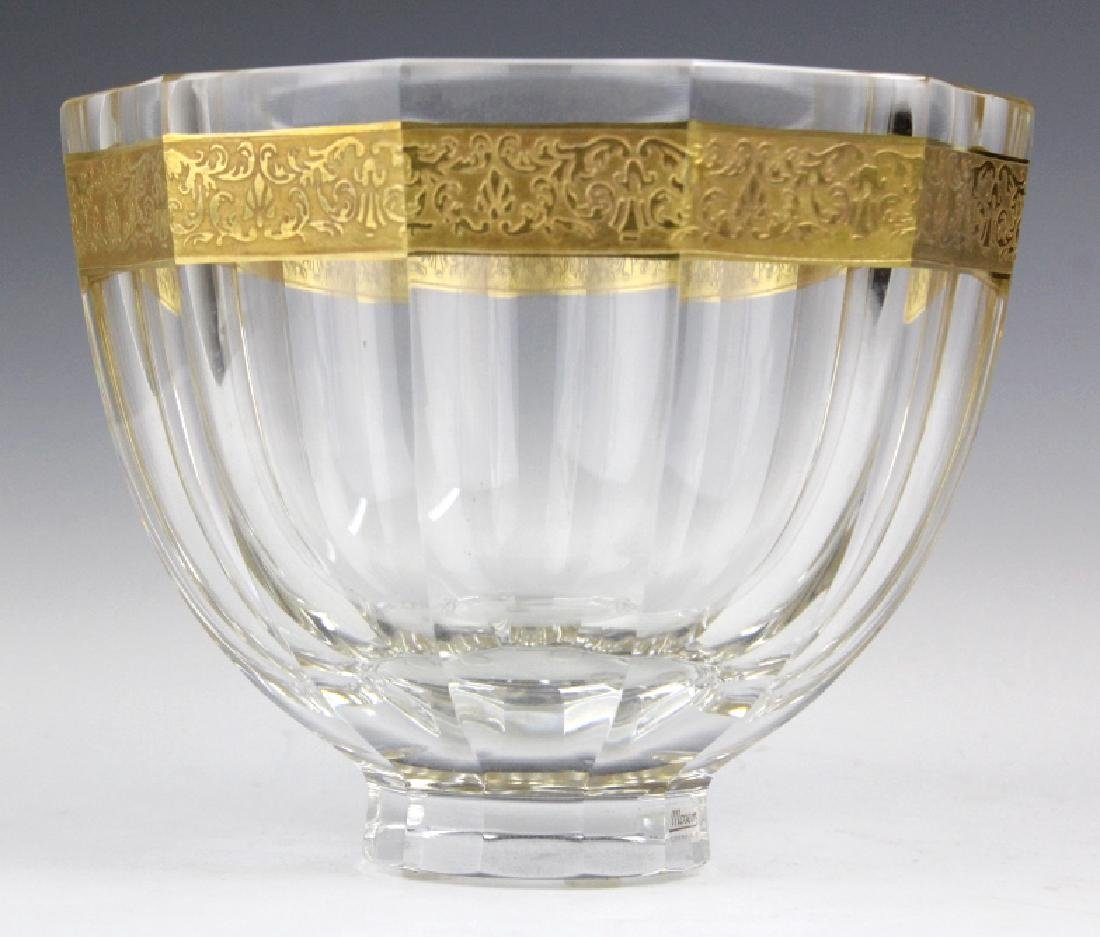 Signed MOSER Bohemian Crystal Gold & Etched Bowl - 2