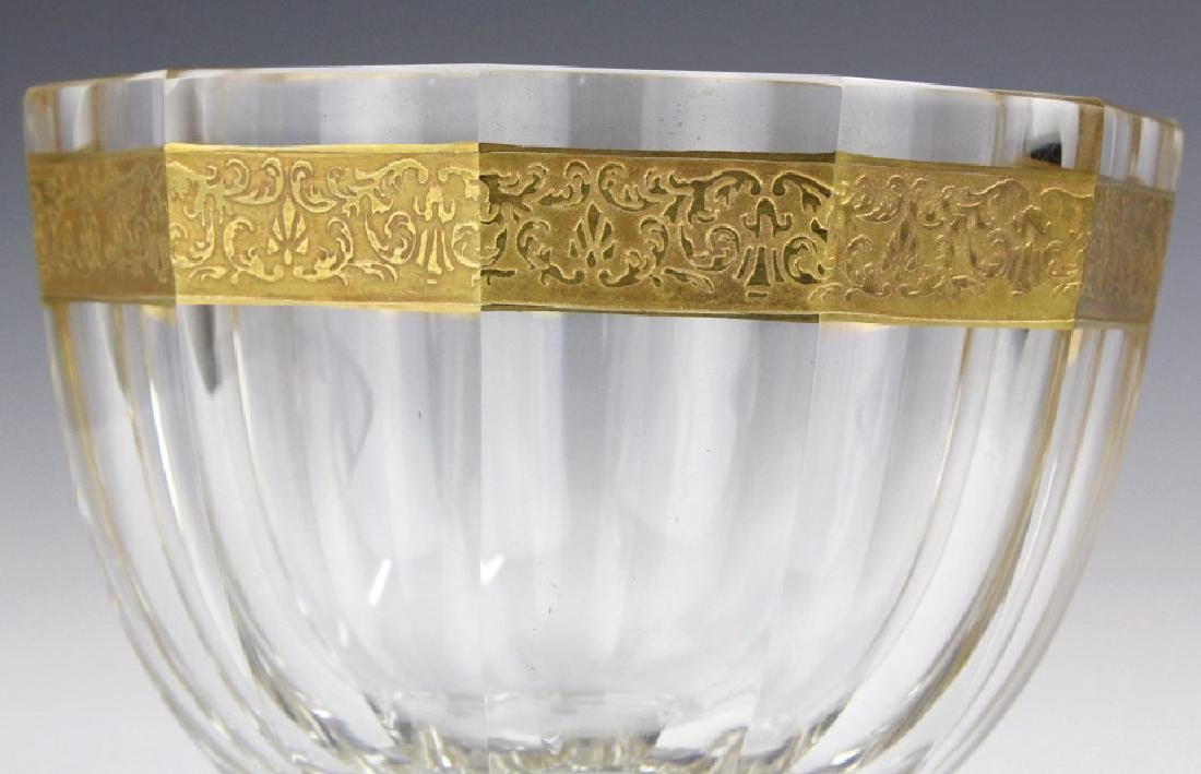 Signed MOSER Bohemian Crystal Gold & Etched Bowl - 3