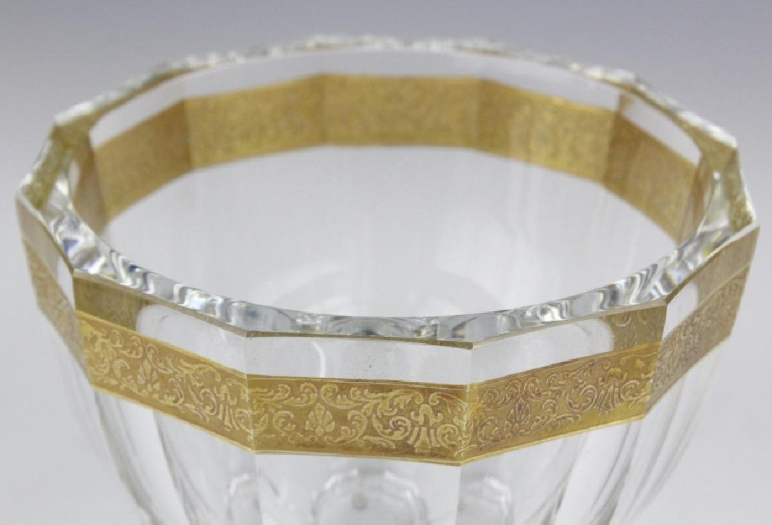 Signed MOSER Bohemian Crystal Gold & Etched Bowl - 4