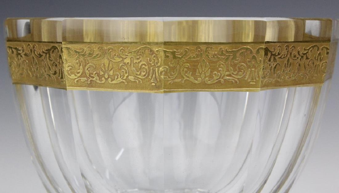 Signed MOSER Bohemian Crystal Gold & Etched Bowl - 7