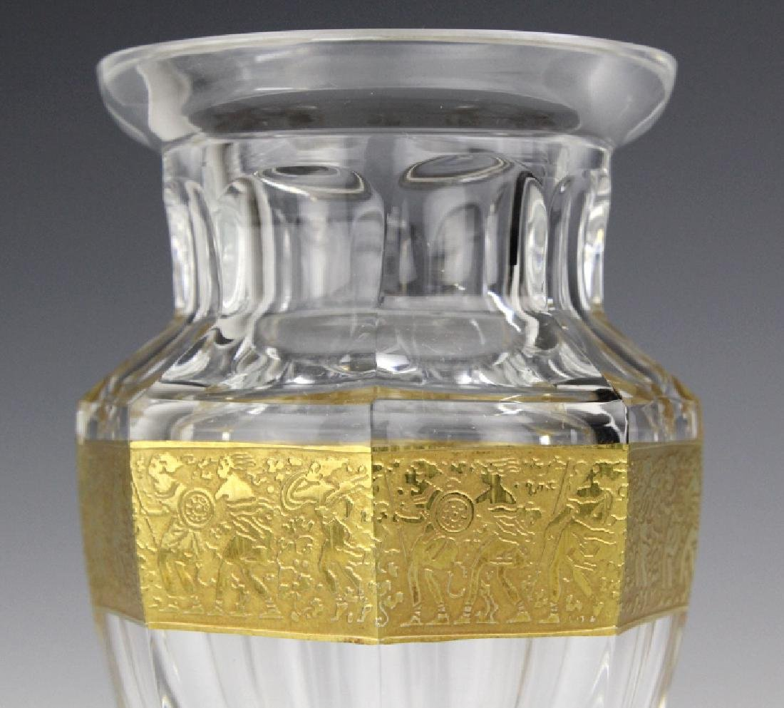 MOSER Bohemian Crystal Gold & Etched Footed Vase - 3