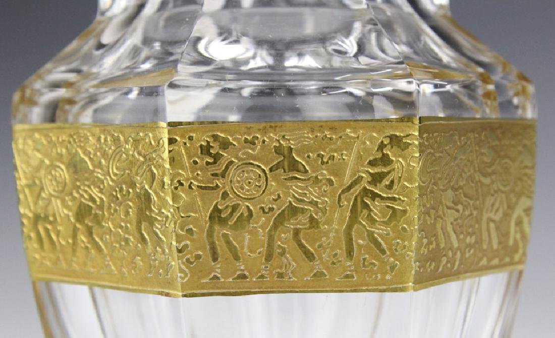 MOSER Bohemian Crystal Gold & Etched Footed Vase - 5