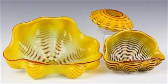 Dale Chihuly 3pc Seaform Art Glass Sculptures RARE