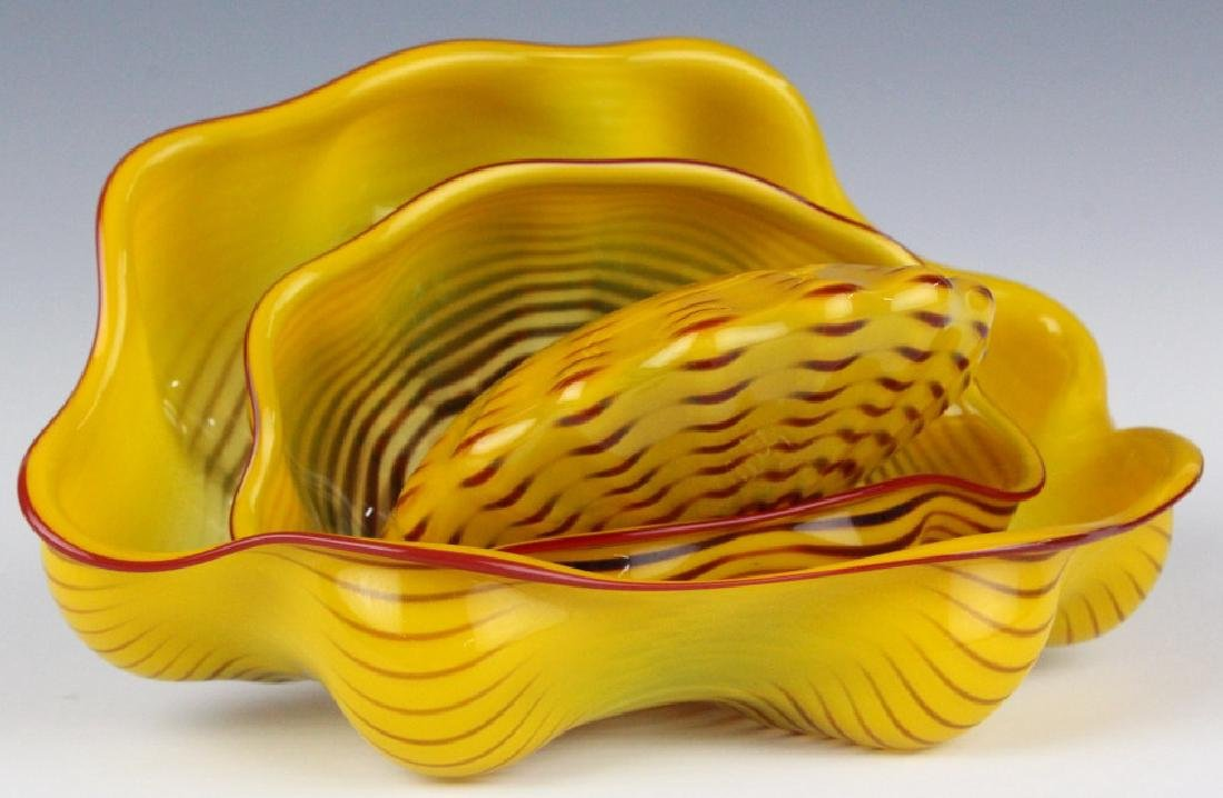 Dale Chihuly 3pc Seaform Art Glass Sculptures RARE - 2