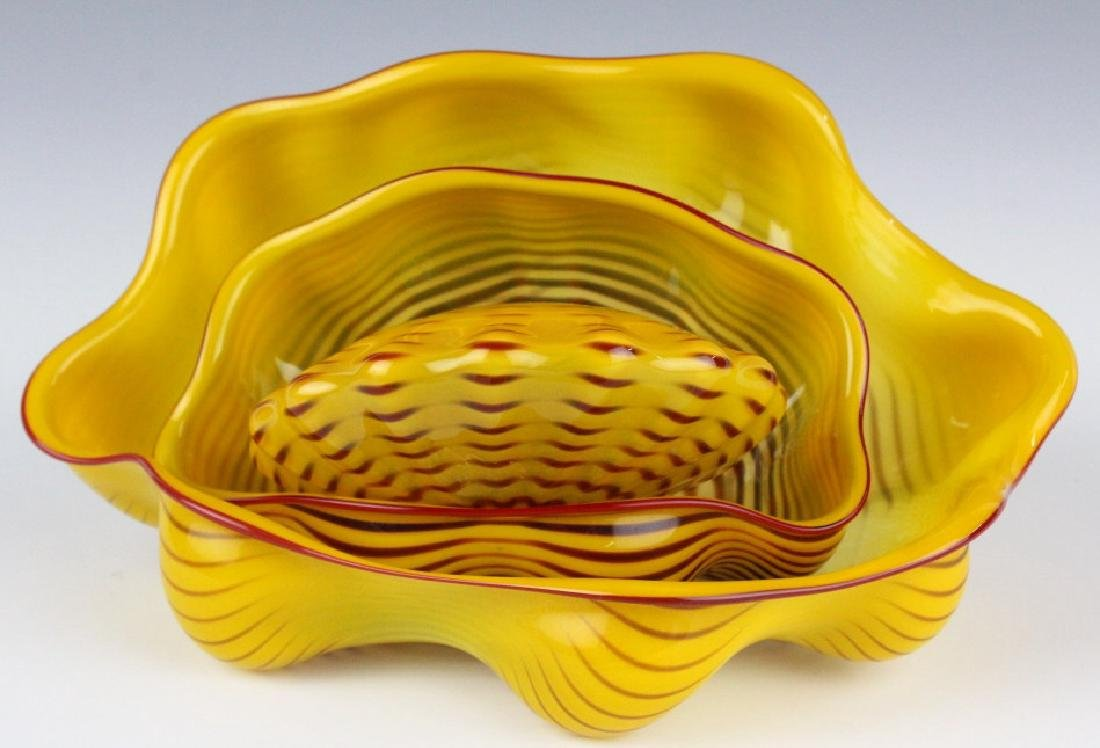 Dale Chihuly 3pc Seaform Art Glass Sculptures RARE - 3