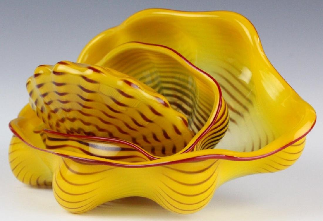 Dale Chihuly 3pc Seaform Art Glass Sculptures RARE - 4