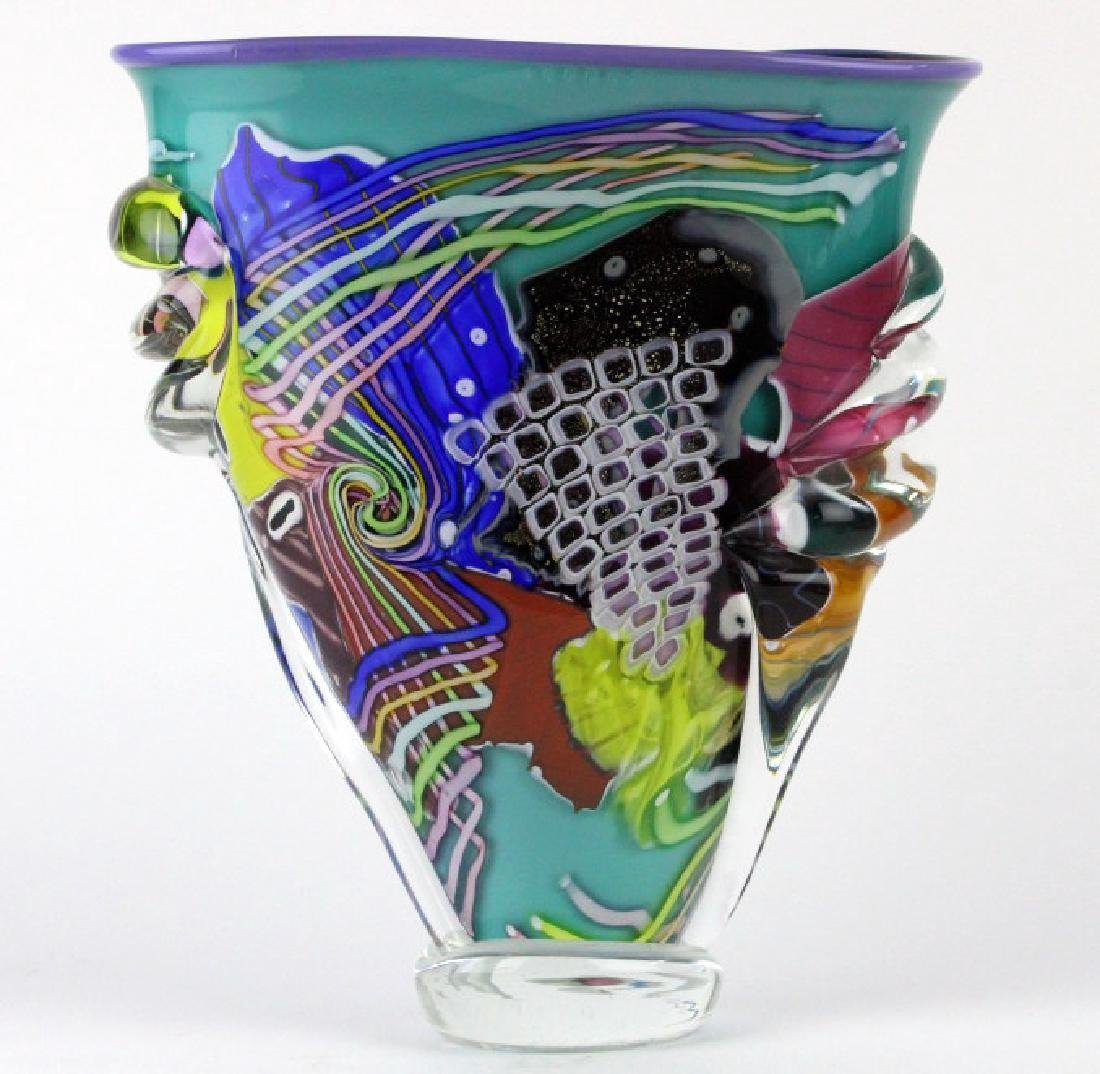 LARGE Signed Peter Ridabock Art Glass Abstract Vase