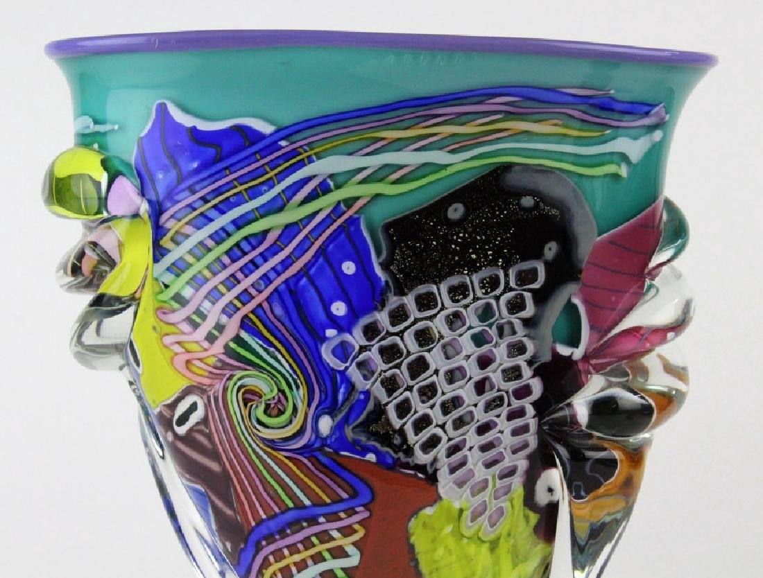 LARGE Signed Peter Ridabock Art Glass Abstract Vase - 2