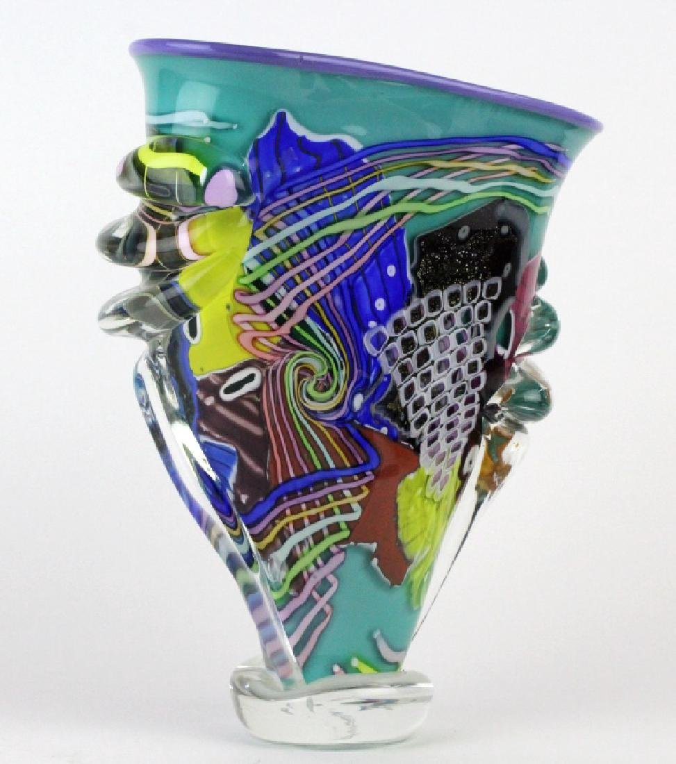 LARGE Signed Peter Ridabock Art Glass Abstract Vase - 4