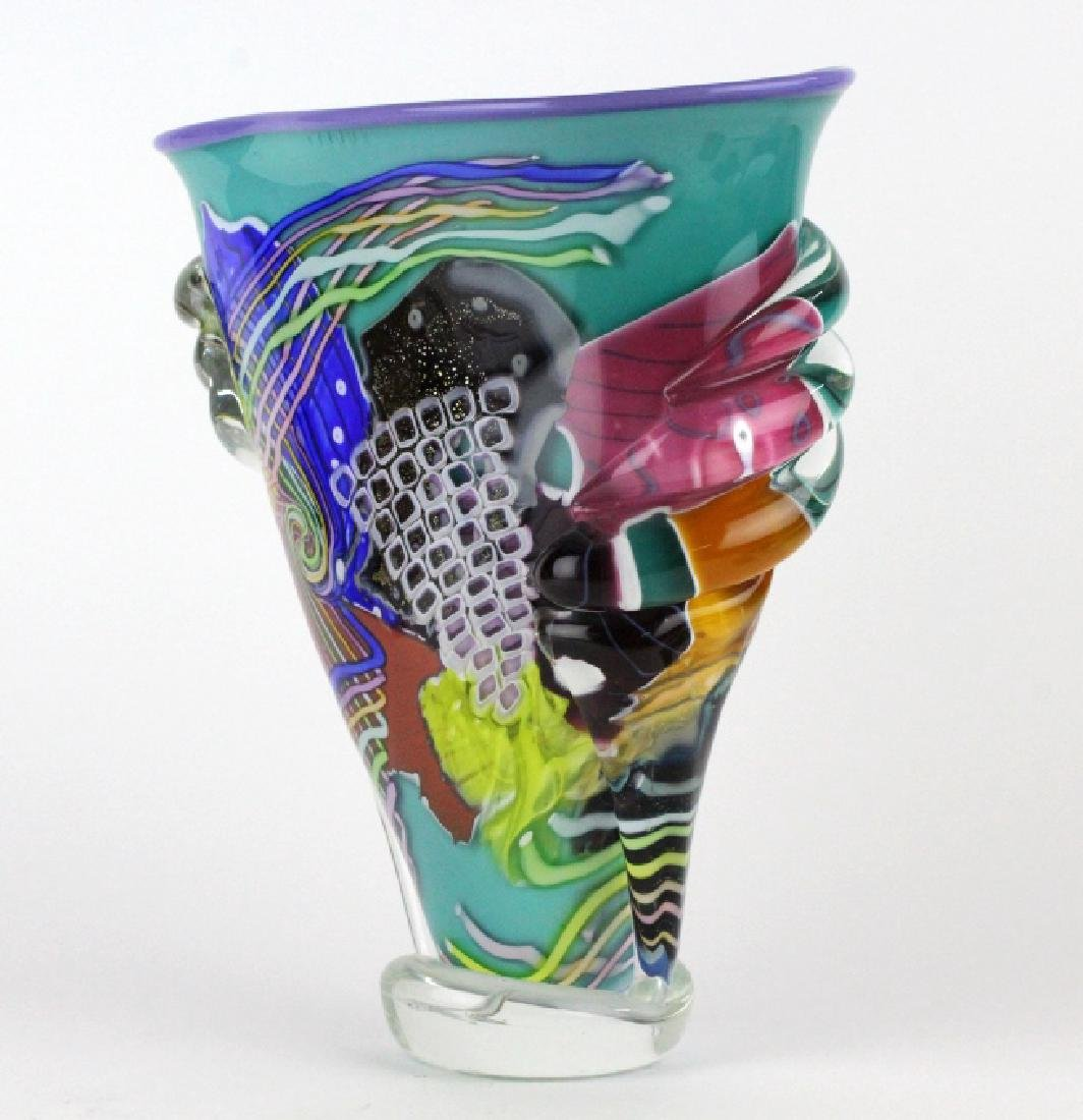 LARGE Signed Peter Ridabock Art Glass Abstract Vase - 5
