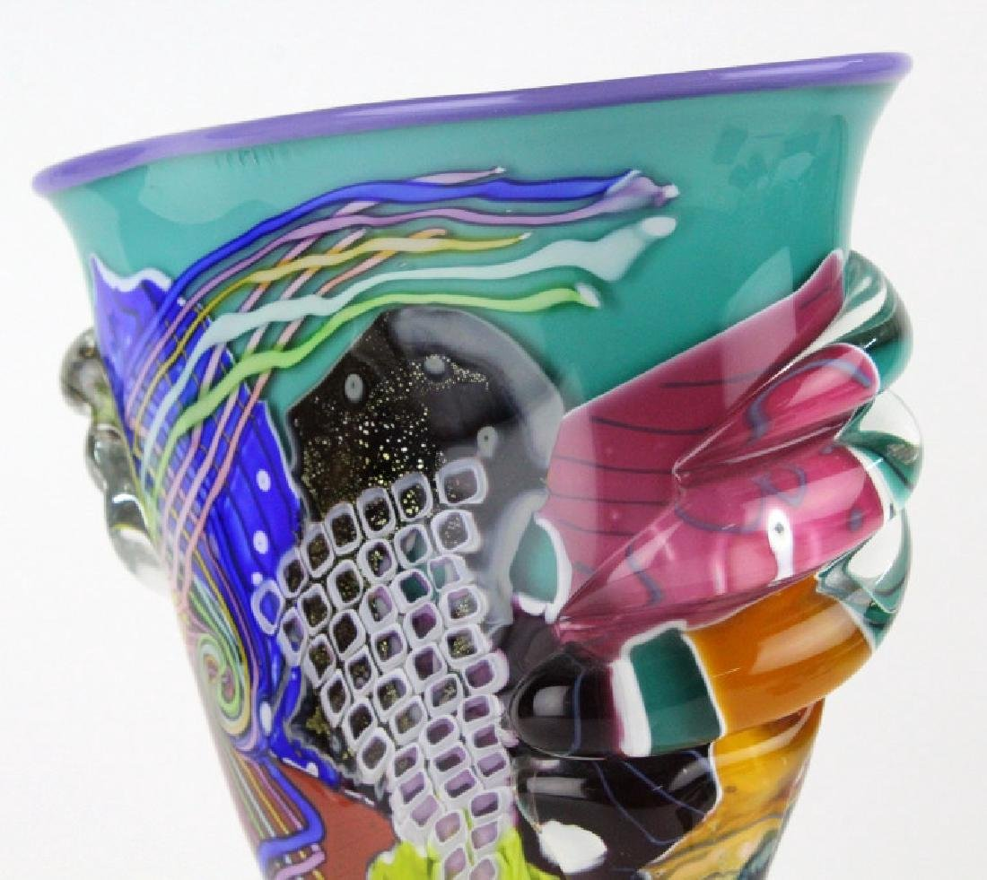 LARGE Signed Peter Ridabock Art Glass Abstract Vase - 6
