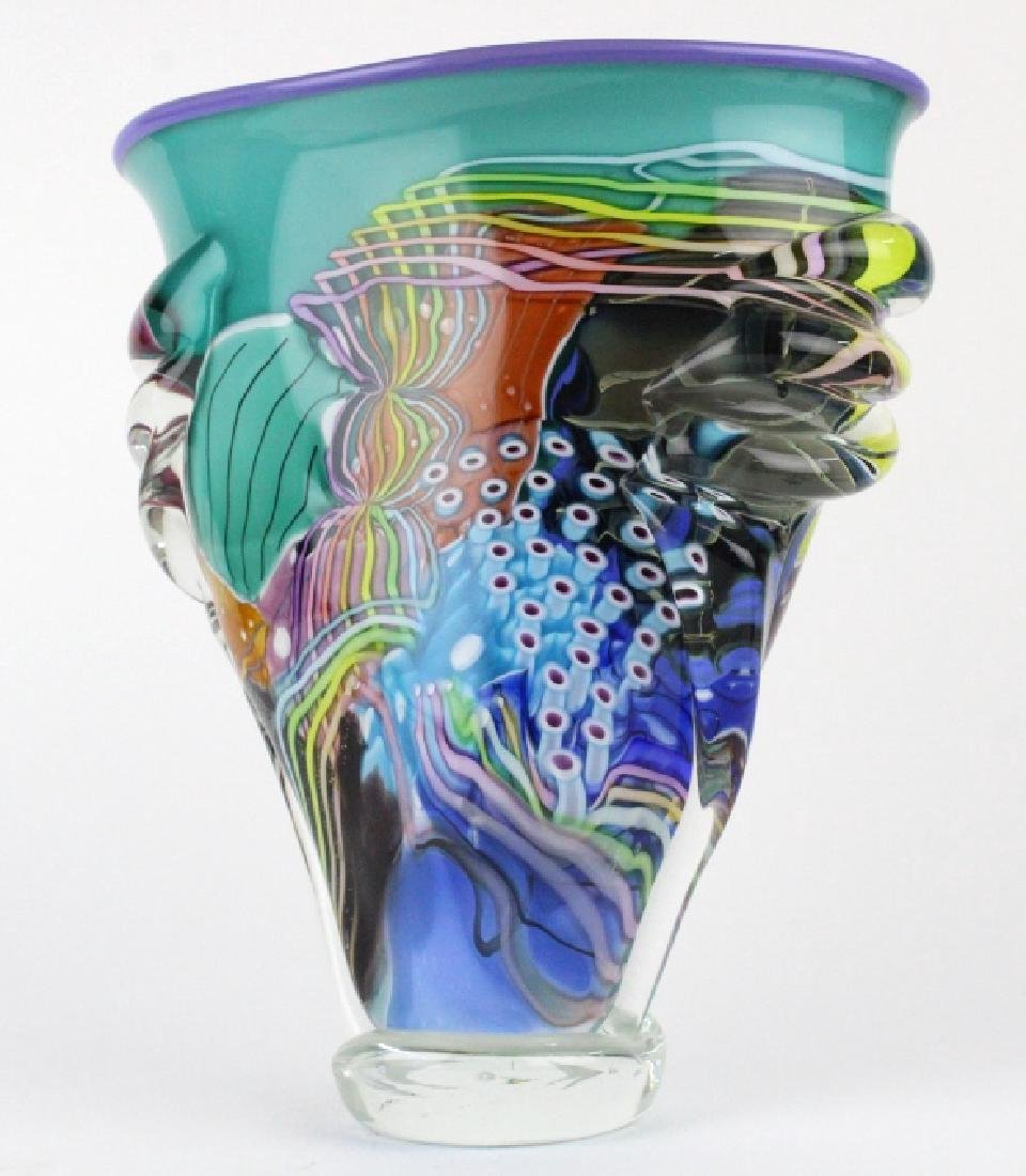 LARGE Signed Peter Ridabock Art Glass Abstract Vase - 7