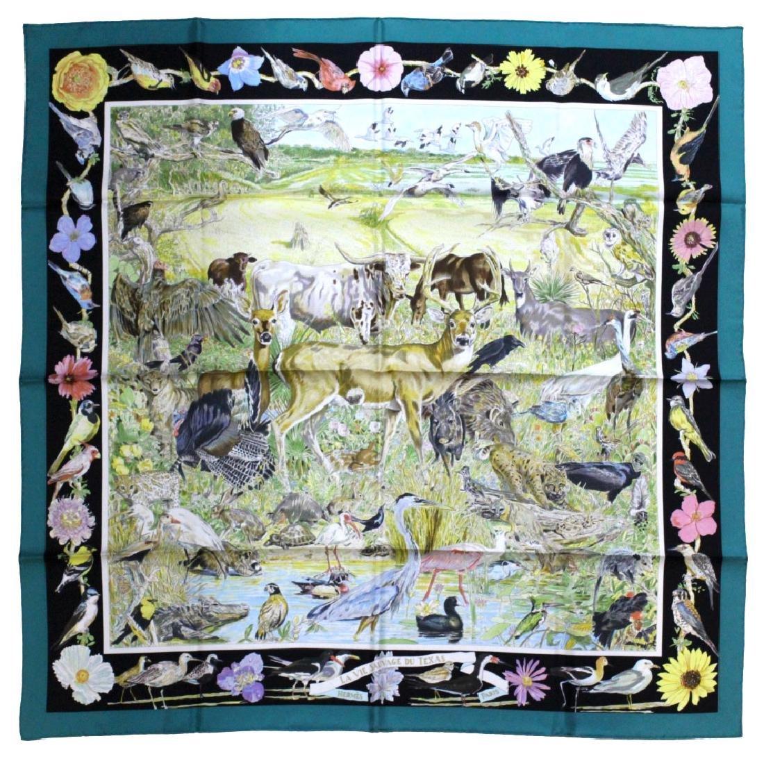 HERMES La Vie Sauvage du Texas Silk Scarf 36x36