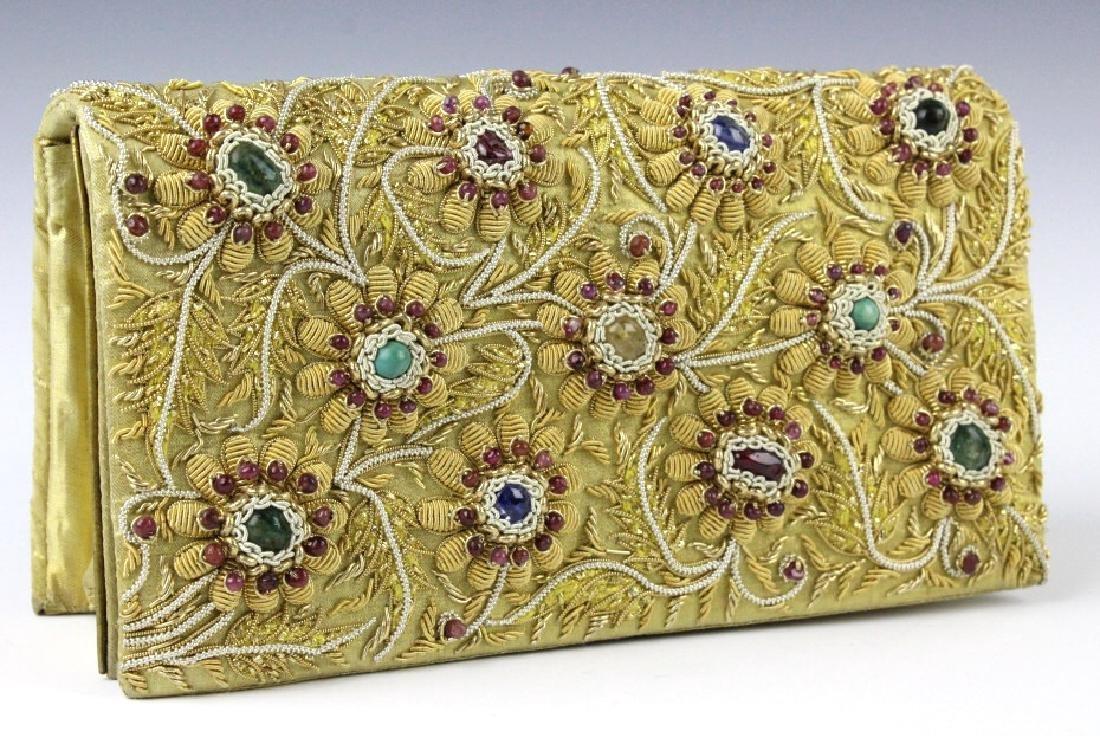 Indian Gold & Silver Gem Jeweled Purse Handbag Bag