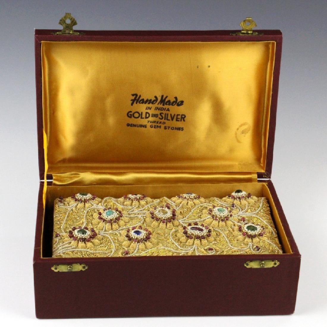 Indian Gold & Silver Gem Jeweled Purse Handbag Bag - 2