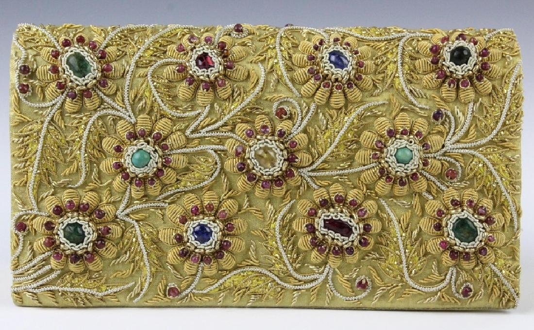 Indian Gold & Silver Gem Jeweled Purse Handbag Bag - 3