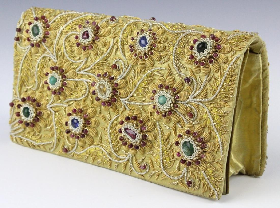 Indian Gold & Silver Gem Jeweled Purse Handbag Bag - 4