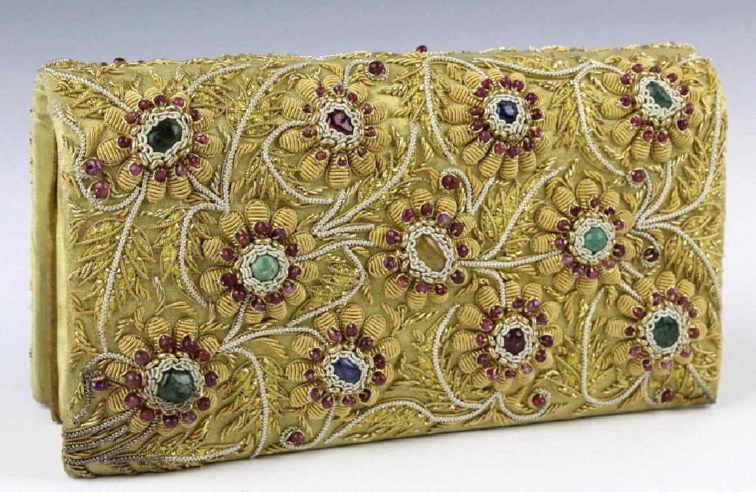 Indian Gold & Silver Gem Jeweled Purse Handbag Bag - 5