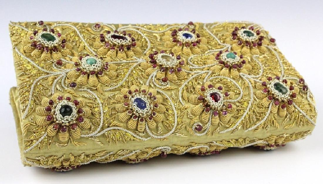 Indian Gold & Silver Gem Jeweled Purse Handbag Bag - 6