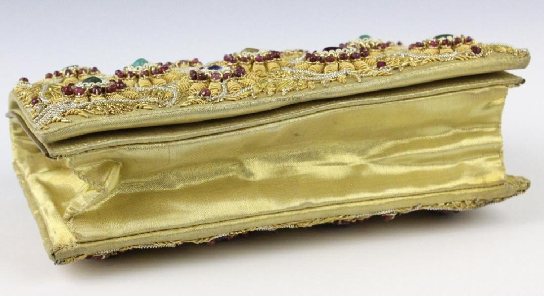 Indian Gold & Silver Gem Jeweled Purse Handbag Bag - 7