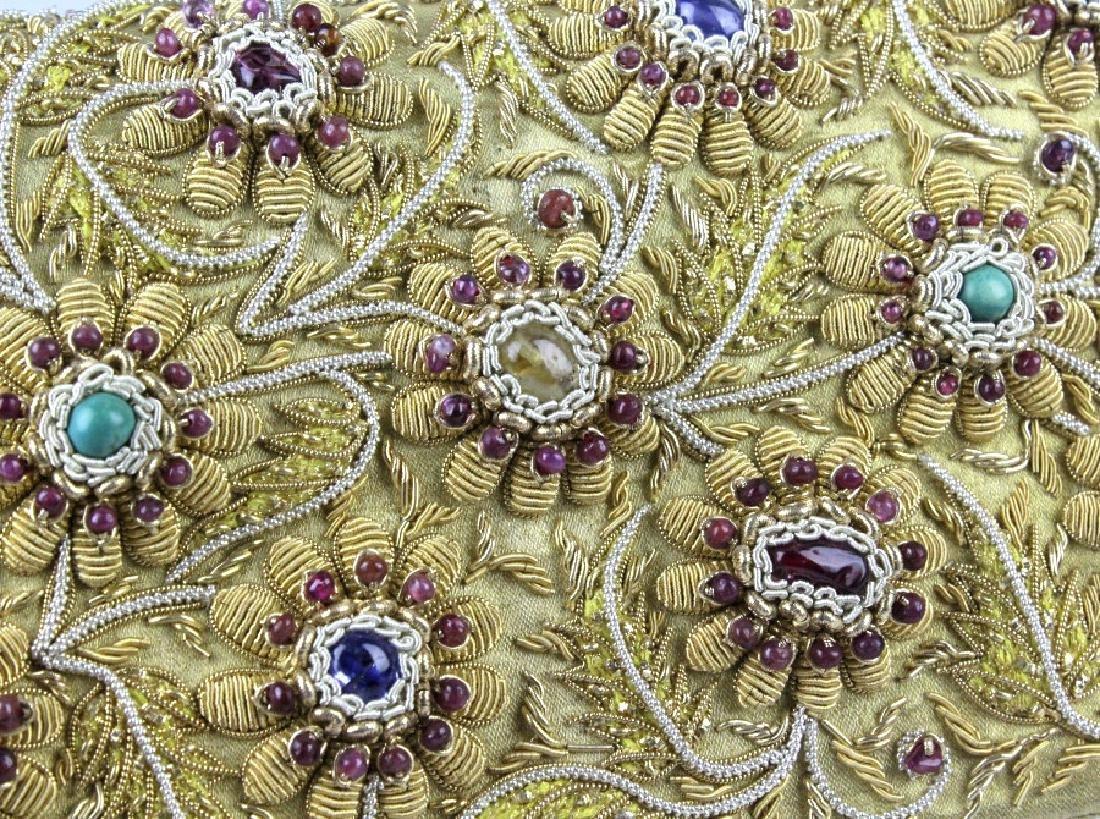 Indian Gold & Silver Gem Jeweled Purse Handbag Bag - 9