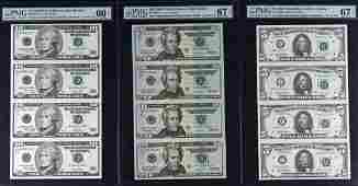 3 Graded Uncut Federal Reserve Star Note Currency