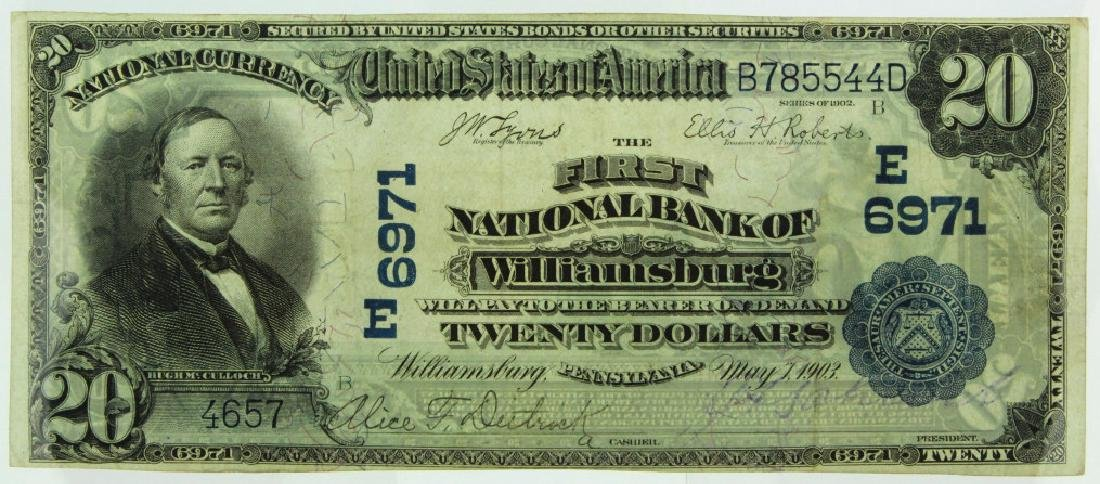 1902 1st NB of Williamsburg PA $20 Bill Ch 6971