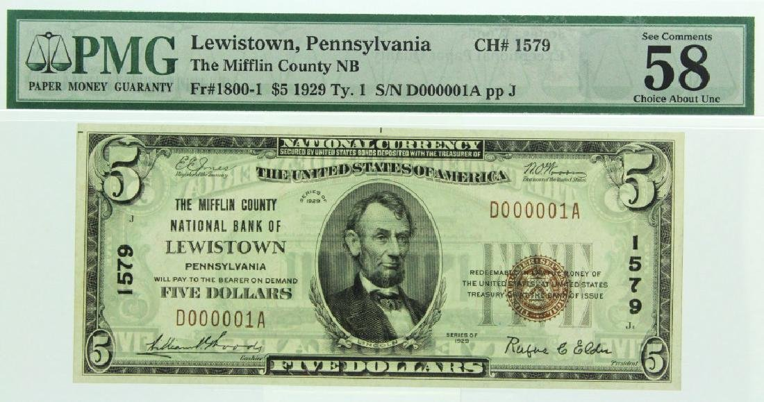 $5 Serial #1 Mifflin NB Lewiston PA National Note