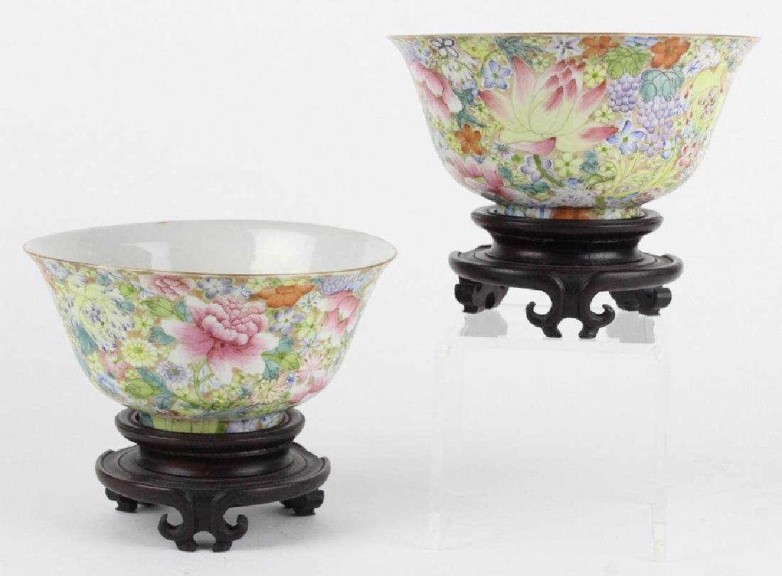 Pair Chinese 1000 Flowers Rose Porcelain Bowls