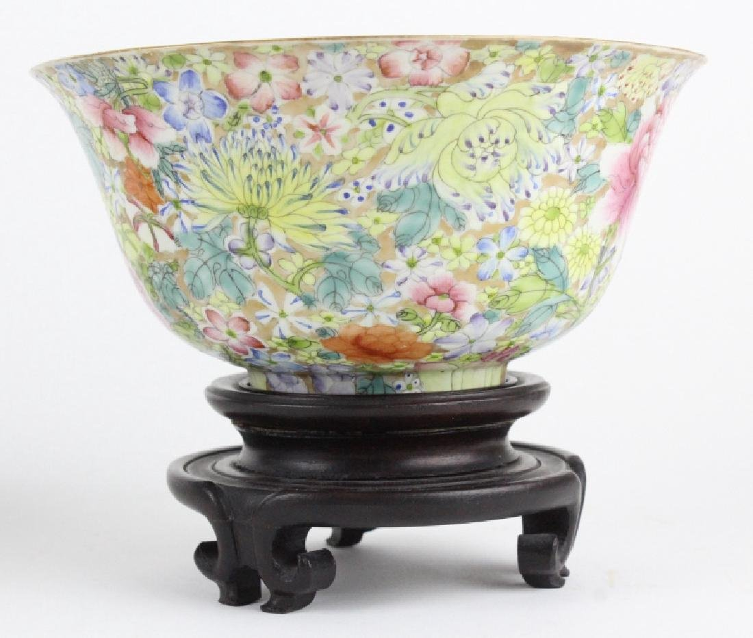 Pair Chinese 1000 Flowers Rose Porcelain Bowls - 2