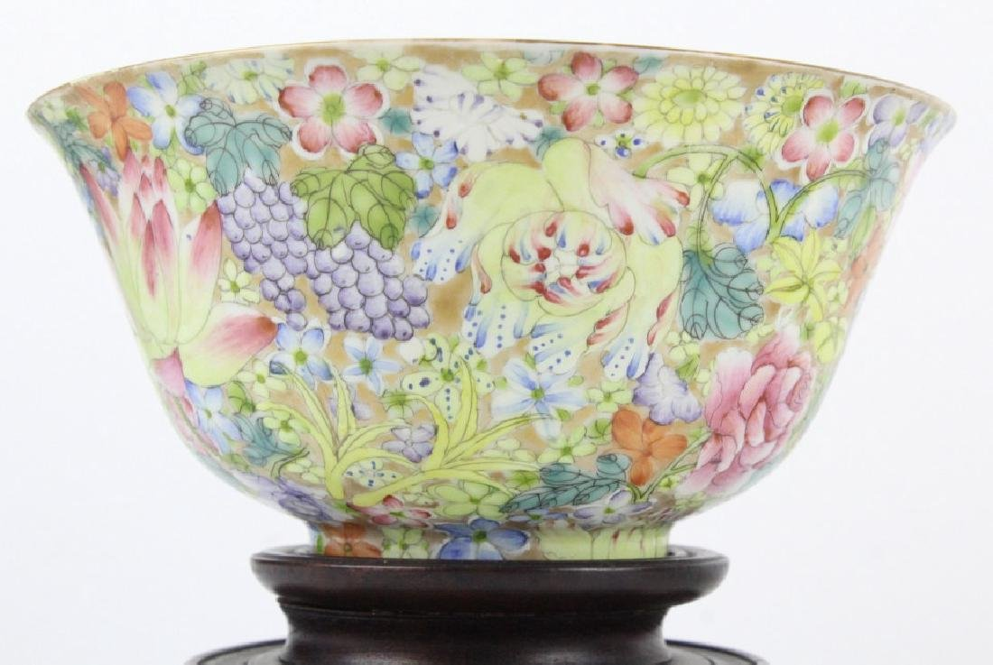 Pair Chinese 1000 Flowers Rose Porcelain Bowls - 3